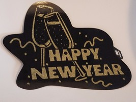 """6 Happy New Year signs black with gold glitter 18"""" x 14"""" single sided - $11.83"""