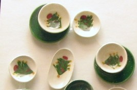 Dollhouse Christmas Tree Dishes 14-pc green white By Barb winter NRFB 1:12 - $25.00