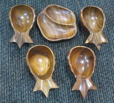 Vintage Set of Monkey Pod Pineapple Shape Bowls Chip & Dip Relish Divide... - $18.69
