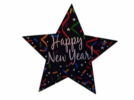 """4 Happy New Year multi-color star cut outs double sided 14"""" x 14"""" (4 count) - $9.84"""