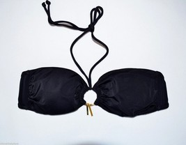 Victoria's Secret Black Ring Tassel Bandeau Bikini Top Medium M New Swim Swimwea - $29.97