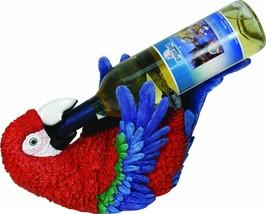 River's Edge Hand Painted Parrot Wine Bottle De... - $23.38