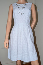 Miss Sixty M60 $128 White Cotton Eyelet Embroidered Dress size 6 Medium ... - $37.19
