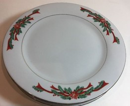 Tienshan Fine China Christmas Poinsettia & Red Ribbons Gold Trim 4 Salad... - $39.59