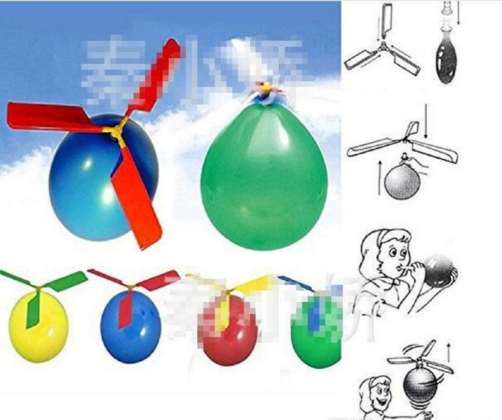 Colorful Balloon Helicopter Aircraft Flying Toy - One Item w/Random Color and...