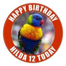Rainbow Lorikeet Parrot Cake Topper 7.5 Inch PERSONALISED Edible on Icin... - $13.41 CAD