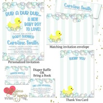Duck Baby Shower Rubber Duckies Invitations Bubbles Personalized Blue Ba... - £15.87 GBP