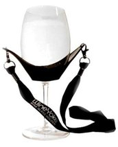 Wine Glass Holder Yoke Necklace with Adjustable Black Support Strap - $7.91