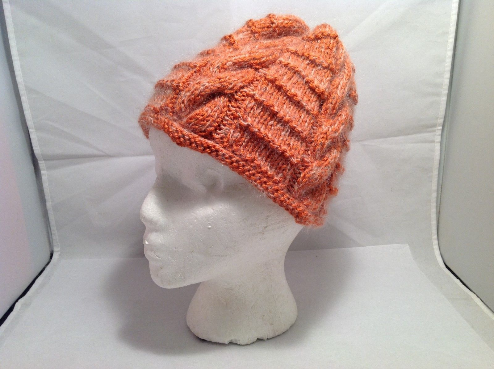 Lovely Orange Cap with Mohair Hand knitted