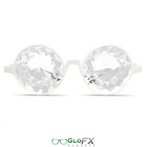 GloFX White Kaleidoscope Effect Glasses Clear Real Glass Crystals Rave Prism New - $29.99