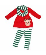 Unique Baby Girls 3 Piece Striped Rudolph Christmas Legging Set (5T) Green - $29.99