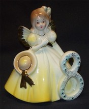 Josef Originals Angel Birthday Girl 8 Year Brown Eyes Figurine Yellow Japan - $19.99