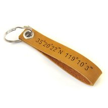Custom Leather Keychain Coordinates Keychain Roman Numerals Key Chain - $1.96