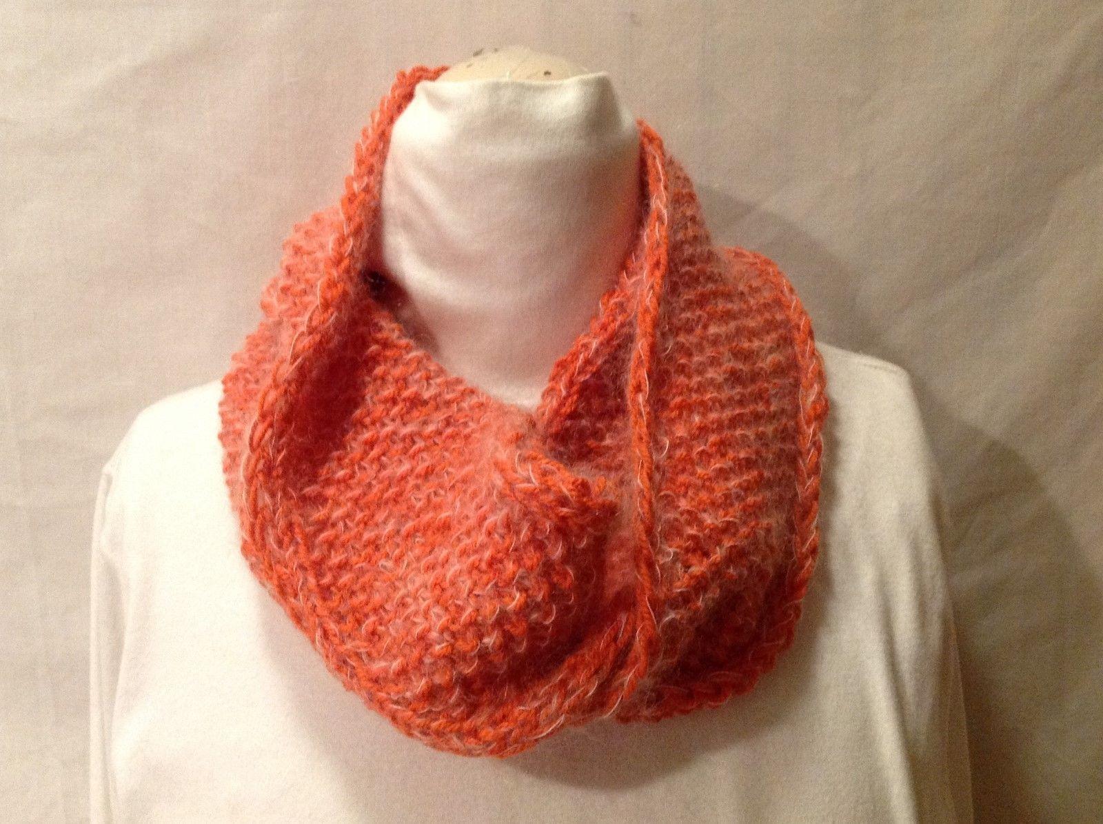 Beautiful European Hand-knit Orange Wool/Mohair Infinity Scarf