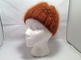 European Style Brown Wool Mohair Orange Brown Hand knitted Cozy Cap Beanie