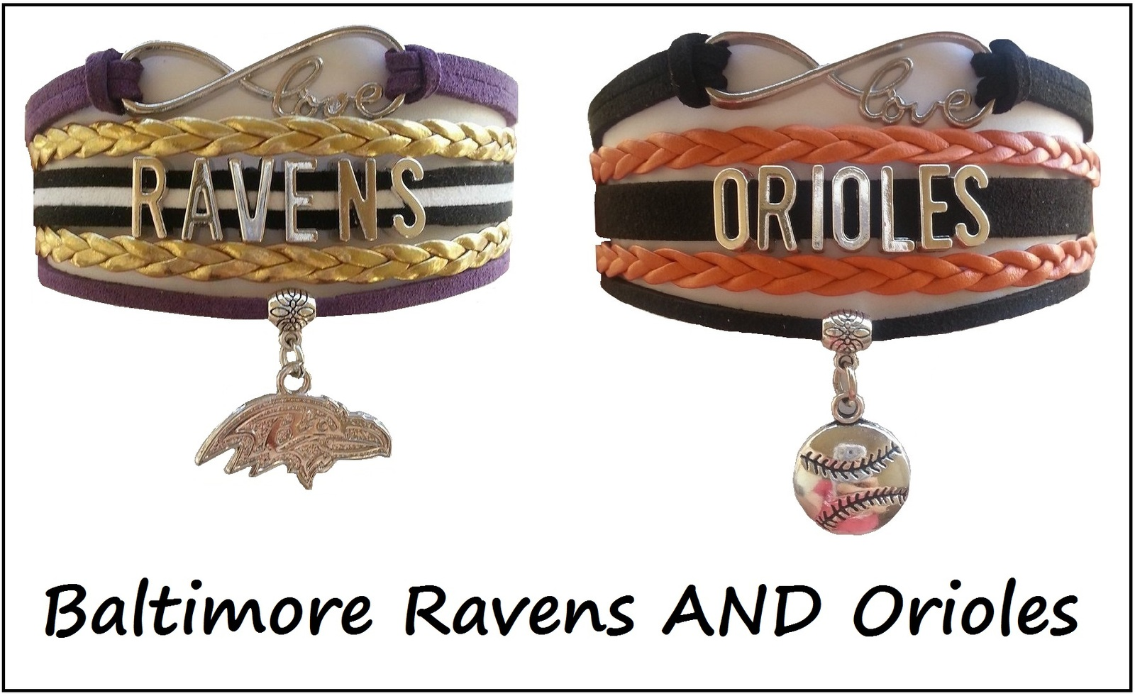 Baltimore Sports Infinity Love Bracelet 2 Pack Gift Special - Ravens AND Orioles