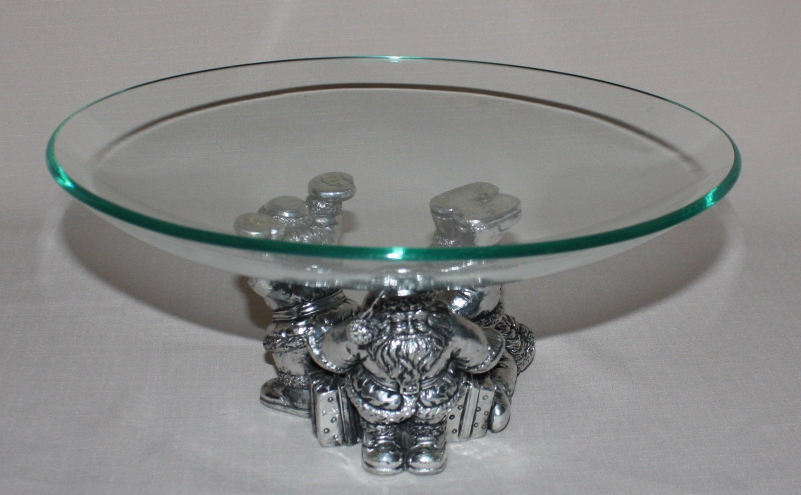 "Primary image for Tumbling Santa Claus with 11"" Glass Bowl 1996 Christmas in Original Box"