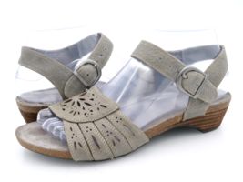 Abeo Womens 7 Gray Bio System Leather Adjustable Ankle Strap Wedge Sandals  - $29.99