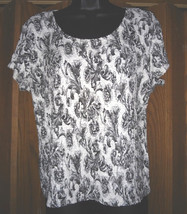 WORTHINGTON STRETCH BLACK AND WHITE FLORAL PRINT TOP XL   - $8.00