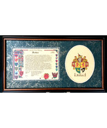 Family Name History with Coat of Arms in a hardwood frame - $119.99