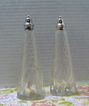 Vintage Pressed Glass Swirl Pattern Tall Salt & Pepper Shaker // Clear G... - $11.99