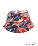 Bucket Hat Red White Blue Unisex 100% Polyester US Flag KBethos Shopping... - $28.70