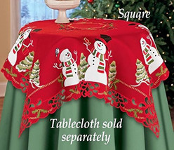 Red Embroidered Lacy Winter Snowman Holly Songb... - $39.00