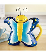 Yellow Blue With Dots Springtime Butterfly Teapot - $35.00