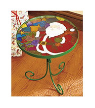Santa Mosaic Stained Glass Holiday Christmas Accent Metal Table - £15.02 GBP+