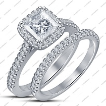 White Gold Plated Sterling Silver Round Cut White CZ Engagement Bridal Ring Set - $82.99