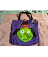 "Purple Novelty Felt Witch Trick Or Treat Bag Large 11""x12"" w/Black Handl... - $7.92"