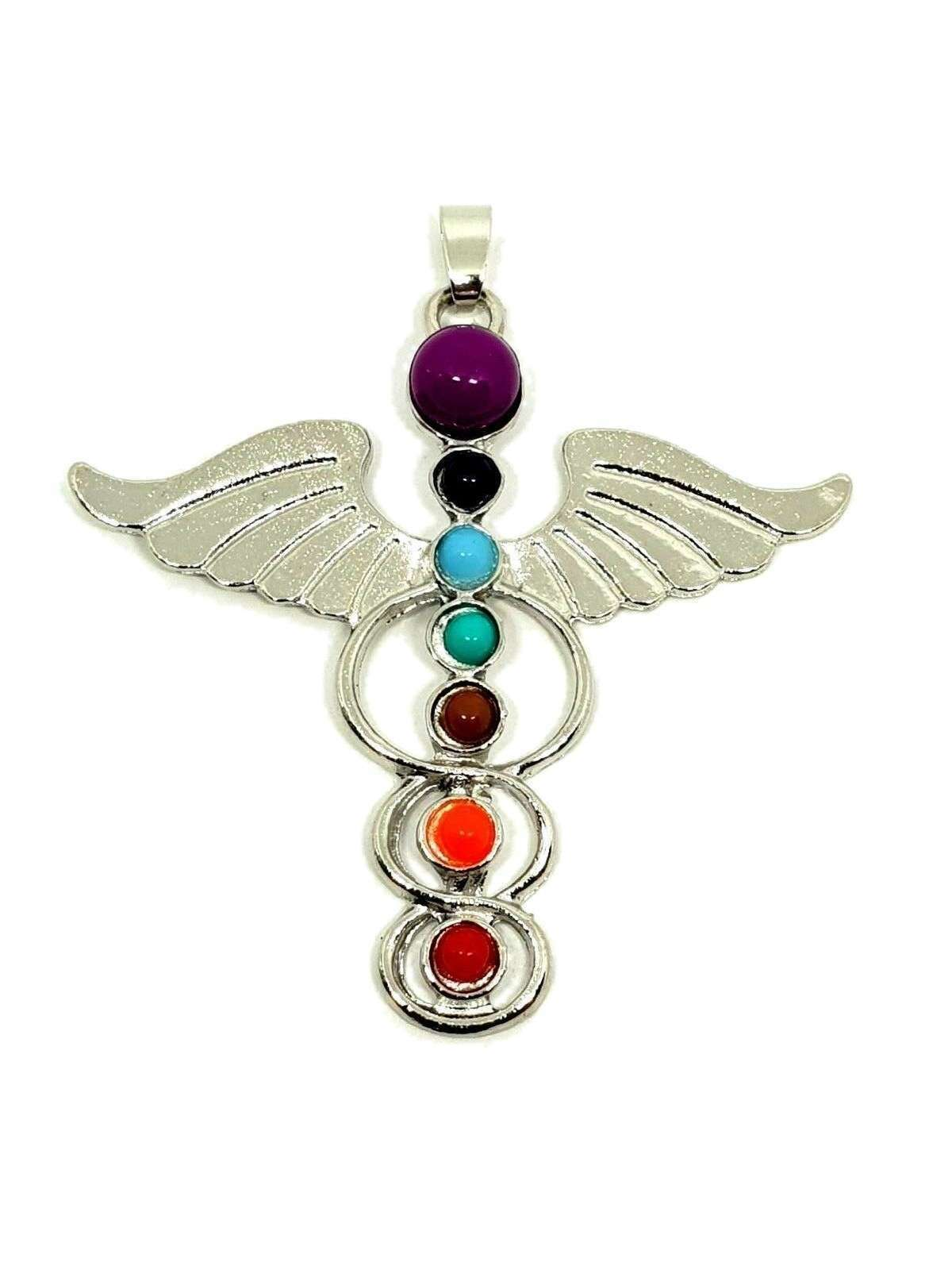 Hermes Winged Beautiful Chakra Silver Tone Guardian Angel Wing Pendant Gift