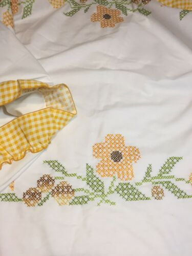 "Primary image for Yellow Flowers Cross Stitch Tablecloth 52"" x 76"" Oval Gingham Ruffle"