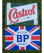 2 Replica Distressed Enamel Advertising Plaque Signs BP Motor Spirit & Castrol - $90.60