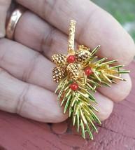 Vintage Enamel Christmas Bough Acorn brooch Signed ART - $15.30