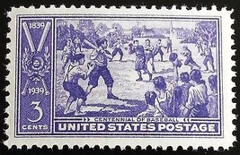 1939 3c Centennial of Baseball, 100th Anniversary Scott 855 Mint F/VF NH - $1.57