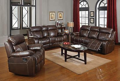 Coaster 603021 022 023 Myleene 3 Pc Brown Finish Reclining Sofa Set