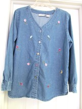 Lemon Grass Wash Denim Blouse Jacket Top Shirt Floral L/S Button Front W... - $23.95