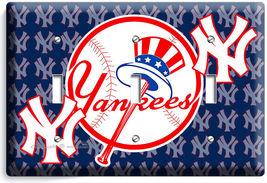 Baseball New York Yankees Team Logo Triple Light Switch Game Tv Room Home Decor - $14.57