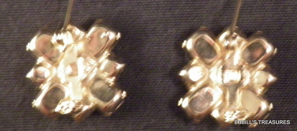 pair of fushcia pink amethyst purple emerald cut rhinestone scatter pins 3968