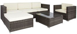 Sofa Furniture Sectional Cushioned Wicker Rattan Patio Black Gray 6-Piec... - $913.67+