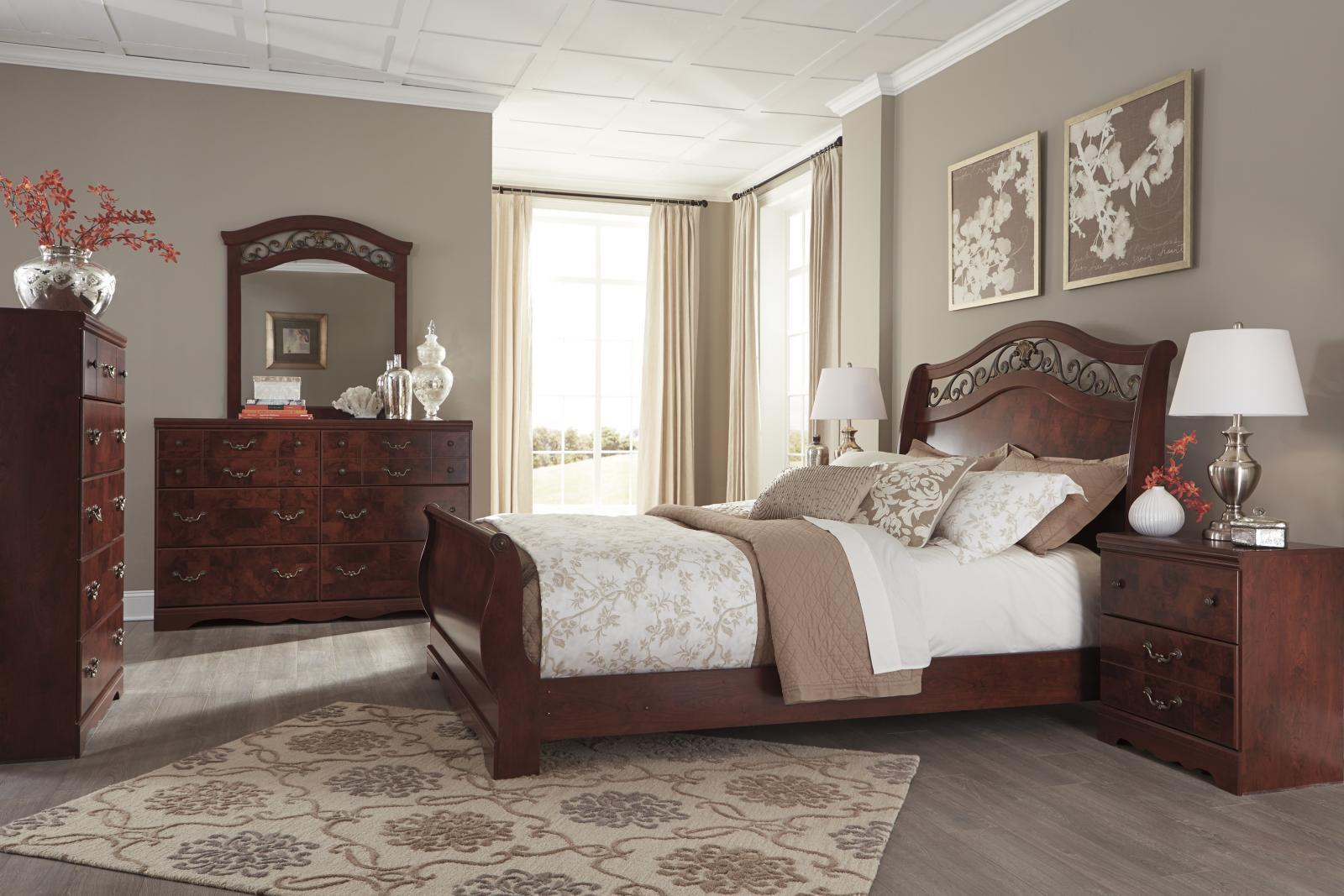 Queen Leather Sleigh Bed Master Bedroom Furniture Set Versailles Sleigh Bedroom Set Bedroom Sets
