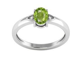 Peridot 7X5 mm Oval Shape Gemstone 925 Sterling Silver Ring Sz 8.5 SHRI1203 - £10.97 GBP