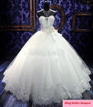 Bling Bride  Wedding Dress Bridal Gown With Sparkle Bling Crystals image 1
