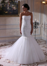 Bling Brides  Mermaid Embroidered Lace Bodice Wedding Dress With Sweethe... - $499.99