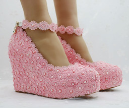 Pearl and Lace wedding pumps floral lace platform wedge pump - $79.99+