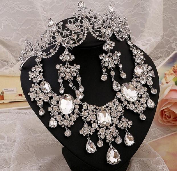 Bling Brides Gorgeous Large Rhinestone Crystal Bridal Tiara Necklace Earring Set
