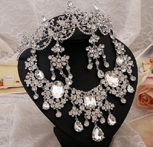 Bling Brides Gorgeous Large Rhinestone Crystal Bridal Tiara Necklace Ear... - $69.99+