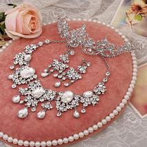 Bling Brides Gorgeous Large Rhinestone Crystal Bridal Tiara Necklace Earring Set image 2