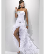 Sexy High Low Wedding Prom Gown,Wedding dresse  with Side Slit  - $299.99